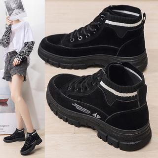 靴子秋季女2021新款时尚中筒粗跟马丁靴绒面松紧百搭百搭短靴女鞋