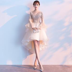 女2021新款宴会气质短款高端晚礼服