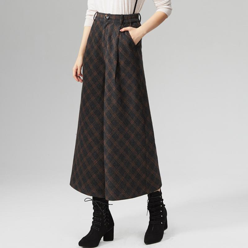 Wide leg pants autumn and winter womens Capris new womens Wool Plaid pants high waist slim womens pants retro pants