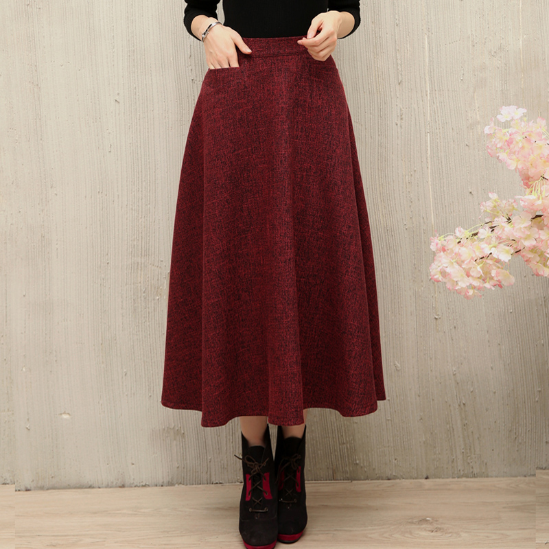 Half length skirt autumn and winter long skirt new womens literature and art RETRO solid color A-line long skirt show thin pocket big swing skirt
