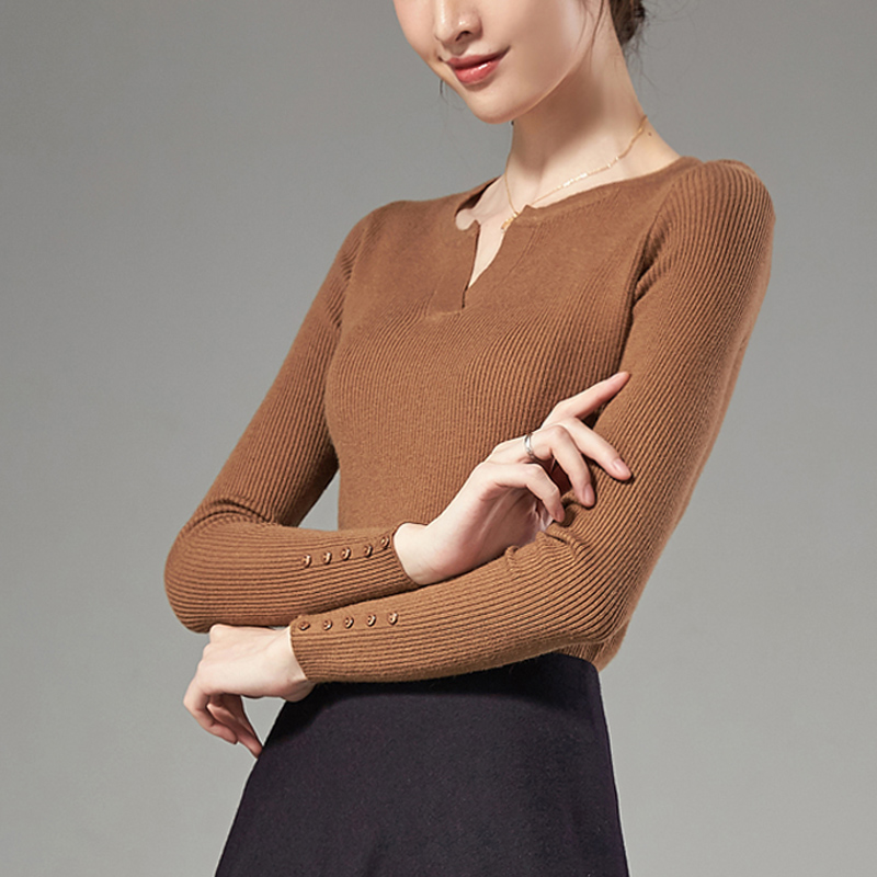 Autumn and winter long sleeve womens new womens simple Pullover solid color round neck bottom shirt button slim knit shirt