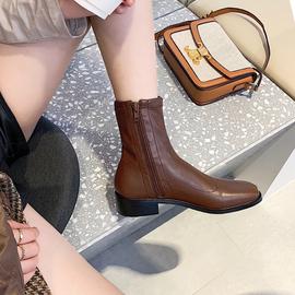不二橘 2020新款靴子女秋冬 中筒弹力短靴女 白色靴子网红瘦瘦靴