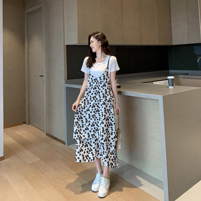 雪纺连衣裙2020新款夏季小清新碎花半身裙长款两件套装蛋糕长裙子