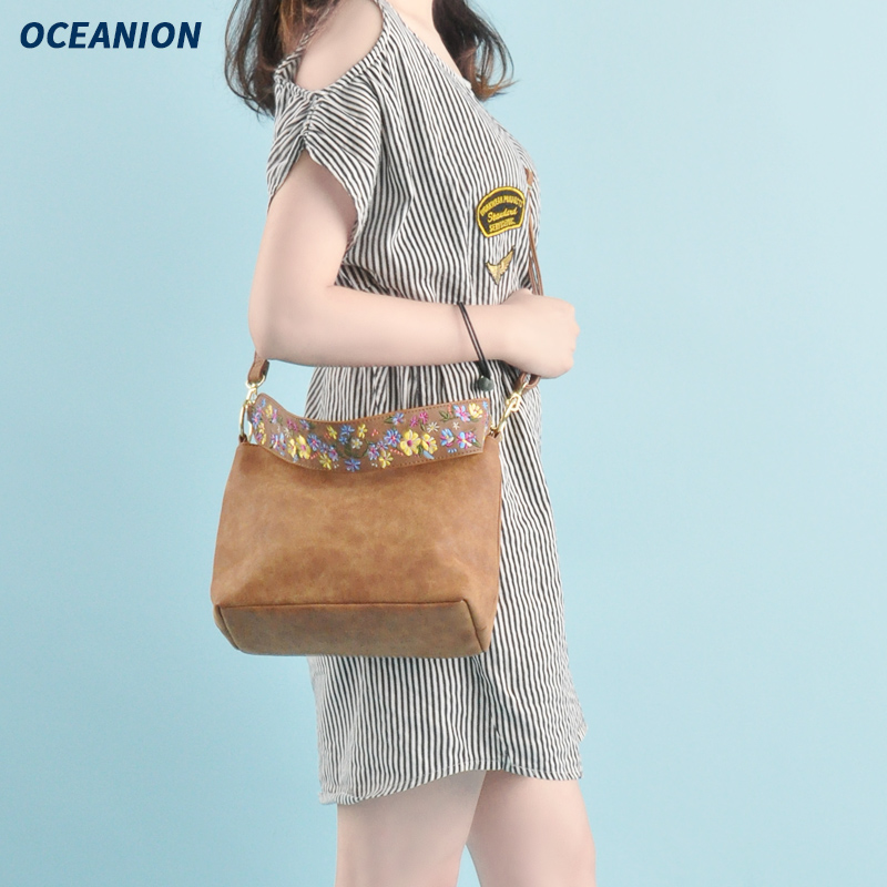 Wide shoulder embroidery hand-held Messenger Bag Fashion Japanese leather bag simple leisure fashion versatile one shoulder multi-purpose womens bag