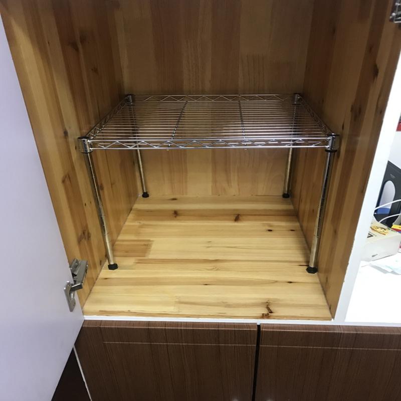 可调节橱柜衣柜分层厨房置物架微波炉架不锈钢色隔层架锅架碗架