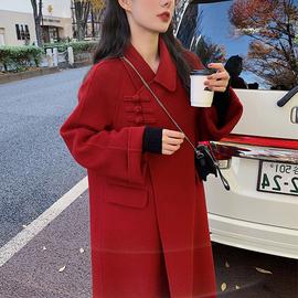 反季高端红色双面羊绒大衣中长款2020新款赫本风宽松毛呢外套女