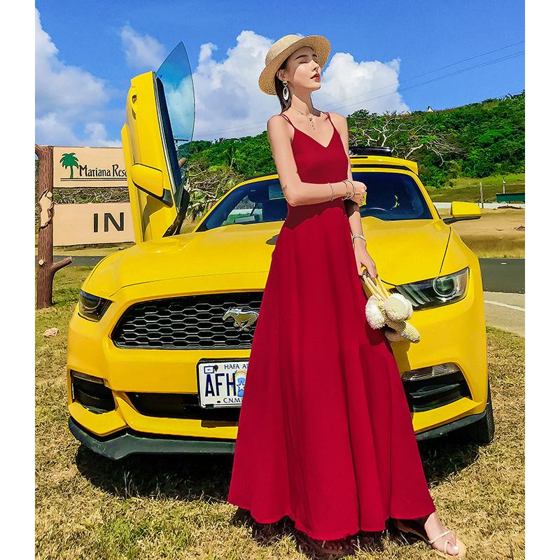 大红色雪纺长款吊带长裙夏季沙滩裙(非品牌)