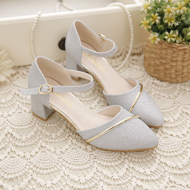 Sandals single shoes women 2020 spring and autumn new simple Bridesmaid button 5cm middle heel thick heel versatile with skirt