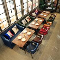 咖啡厅沙发复古西餐厅酒吧沙发卡座奶茶店甜饮品店沙发桌椅组合