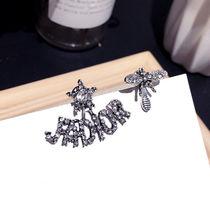 韩版新款复古不对称银针耳坠巴洛克水钻蜜蜂五角星字母短款女耳环