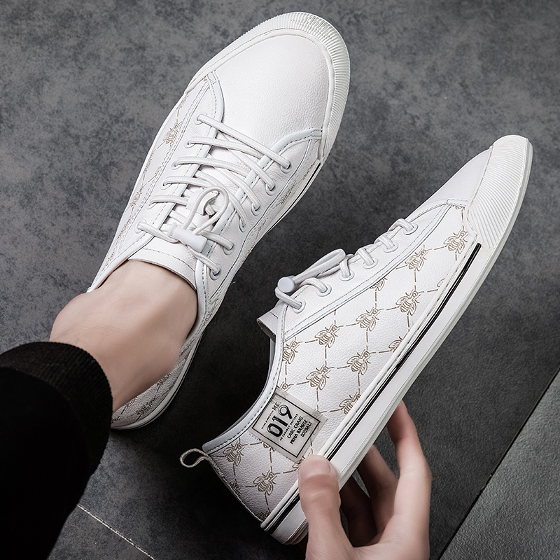 New mens summer casual shoes top layer soft leather trend mens shoes versatile low top small white shoes lace up mens board shoes