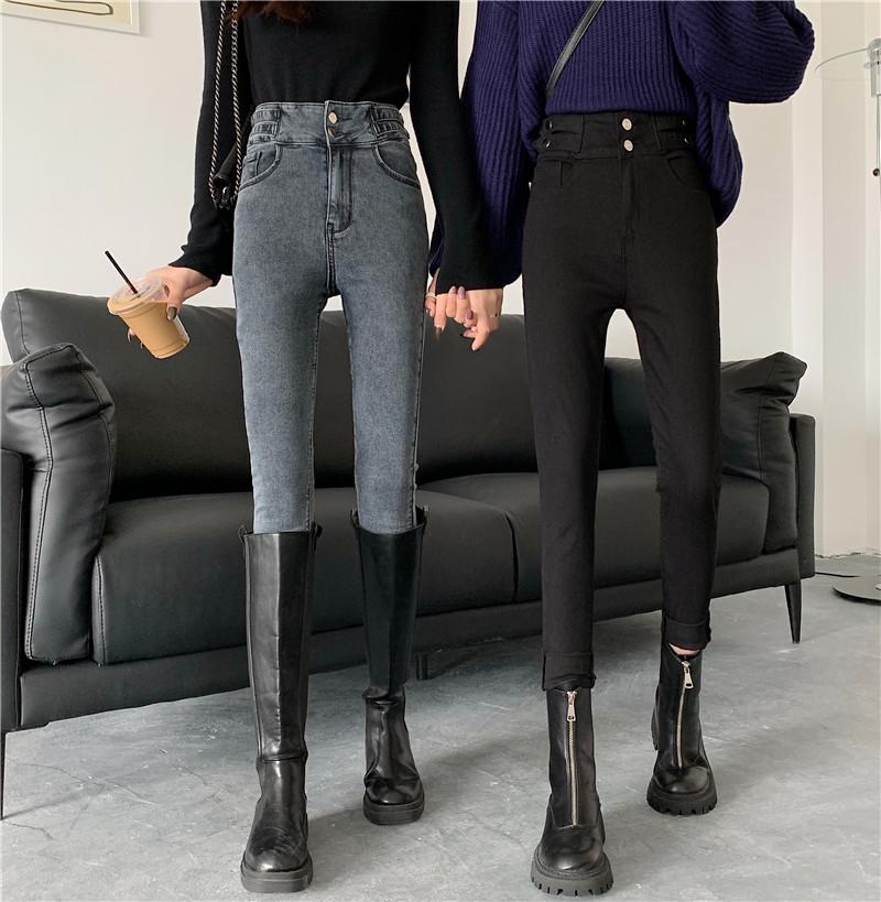 5209#【实拍】高腰牛仔裤女紧身弹力小脚牛仔裤