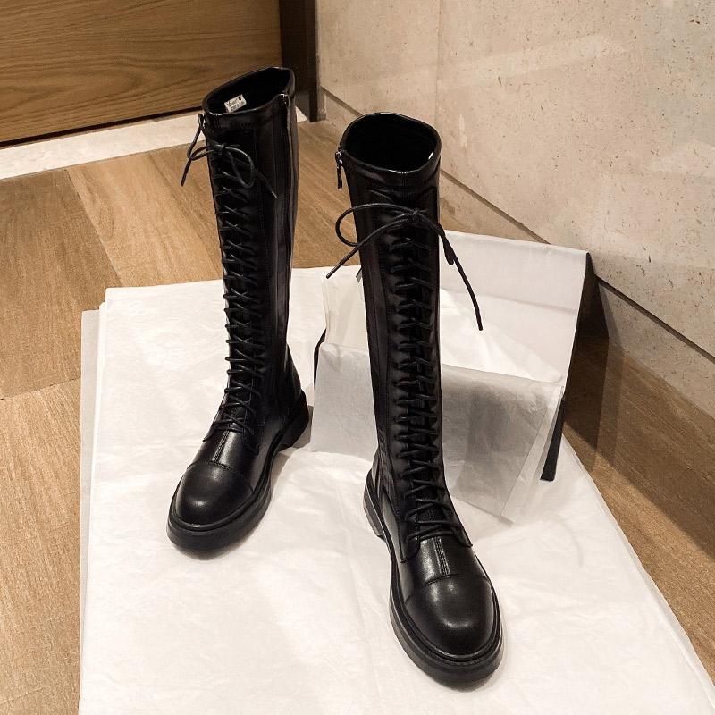 妙侣2020年新款爆款长筒靴女不过膝骑士靴秋冬季加绒高筒马丁靴子