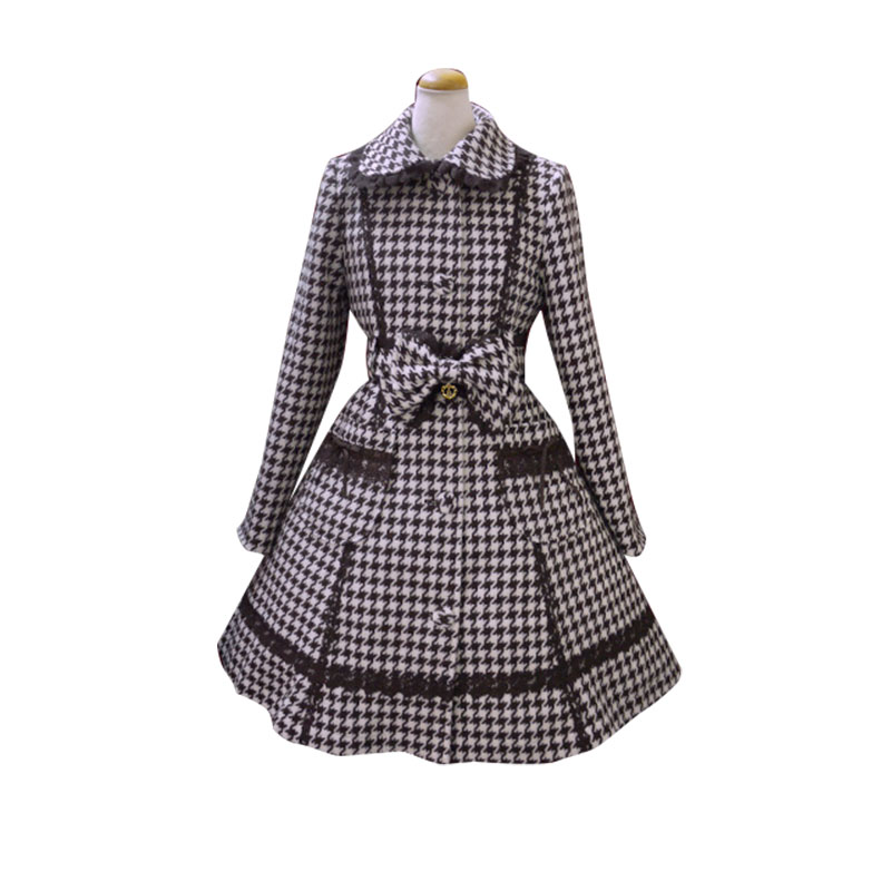 Lolita princess dress, autumn and winter daily Lolita wool coat, thousand bird Style Lace woolen coat