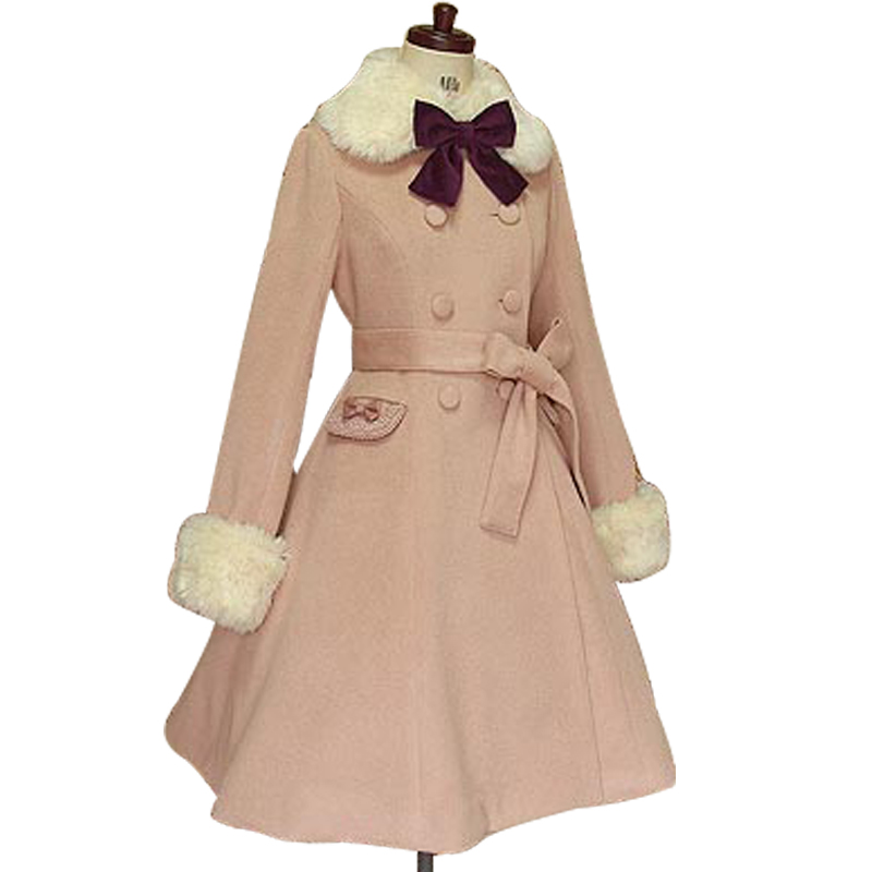 Lolita princess dress womens autumn and winter woolen coat Lolita elegant temperament lady woolen cloth coat woman