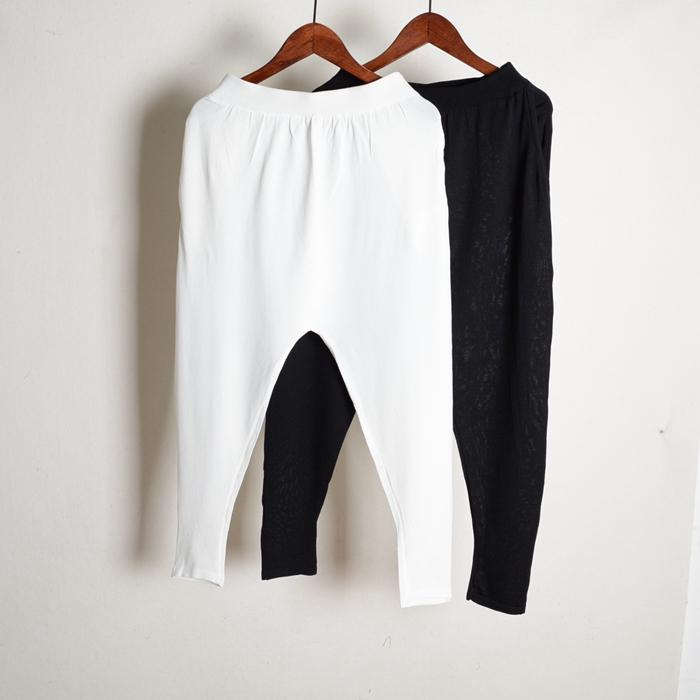 曲珠冰丝夏装新款薄款哈伦裤窄脚裤纯色口袋长裤针织裤好品质女装