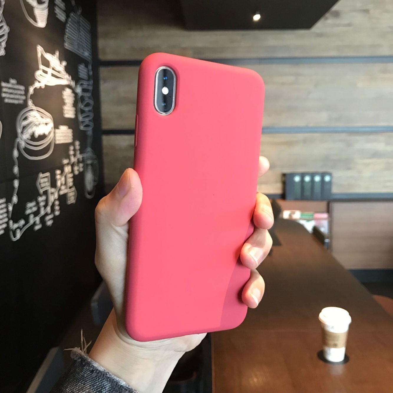 全包液态硅胶苹果山茶红xr手机壳(非品牌)