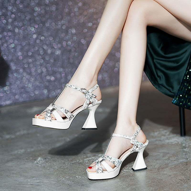 Leather platform high heel sandals womens 2021 new summer printed thick heel open toe button sandals