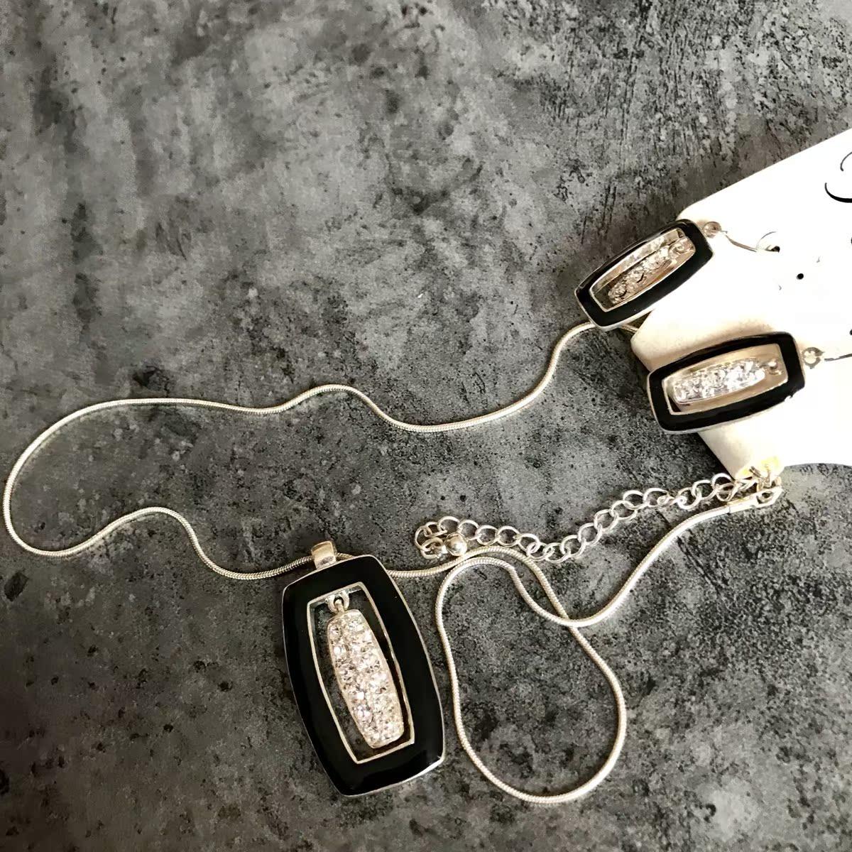 复古黑色时尚滴油工艺耳环方形莱茵石项链毛衣链女项链吊坠一套