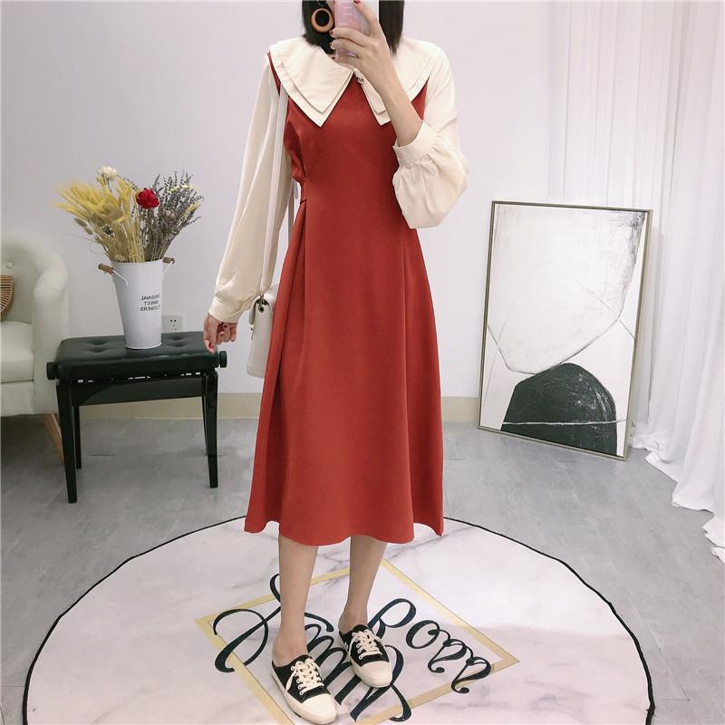 (用5元券)2109早秋法式小众设计感过膝连衣裙
