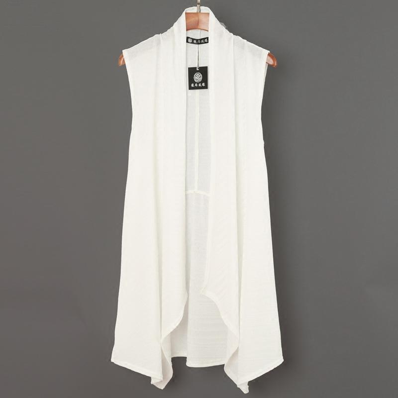 夏季男中长款马甲潮流薄款无袖开衫白色披肩外套韩版个性披风外搭
