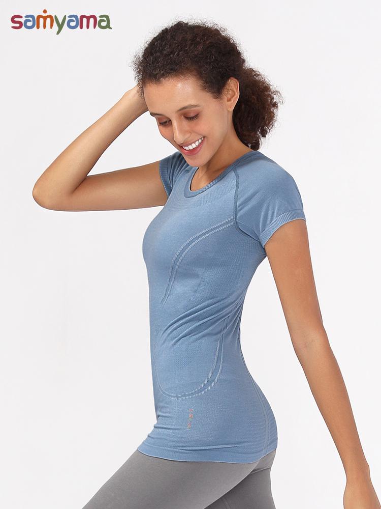 samyama健身瑜伽服运动女弹力t恤