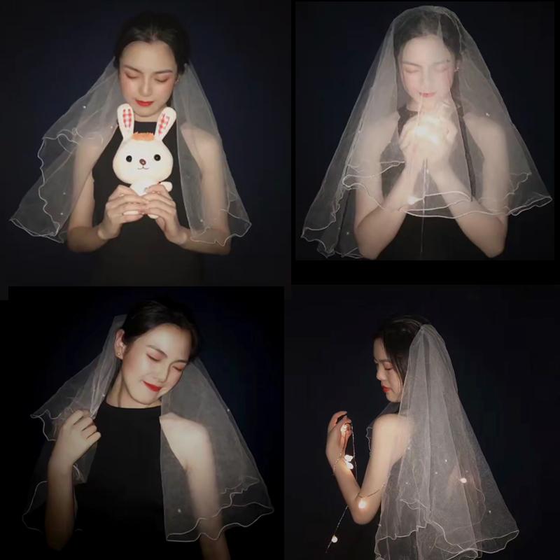 满9.90元可用1元优惠券新娘头纱女复古结婚婚纱头纱头饰超仙森系短款香槟色网红拍照道具