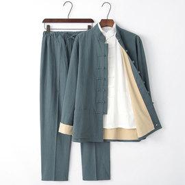 唐装男青年长袖套装中老年亚麻外套禅修服三件套中国风汉服男古风