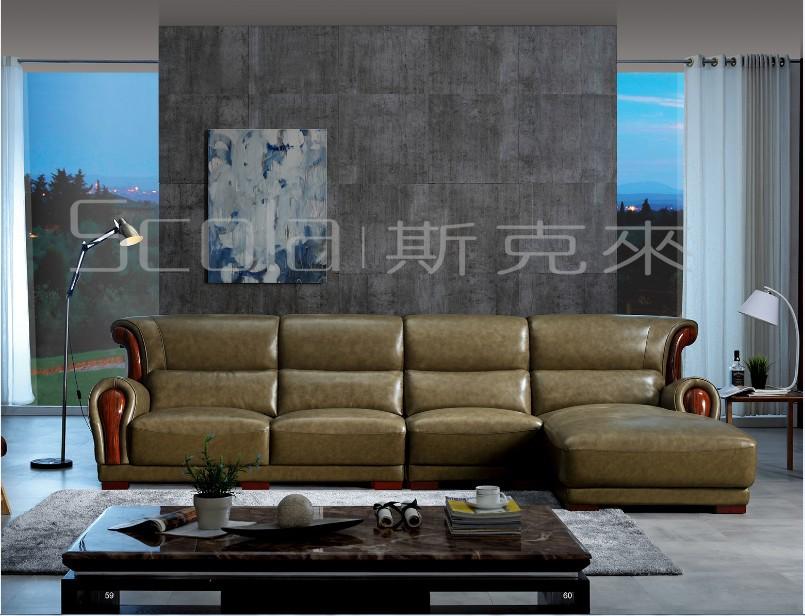 斯克莱家具正品  赛玛帝真皮沙发 多功能中厚皮沙发 特价沙发633