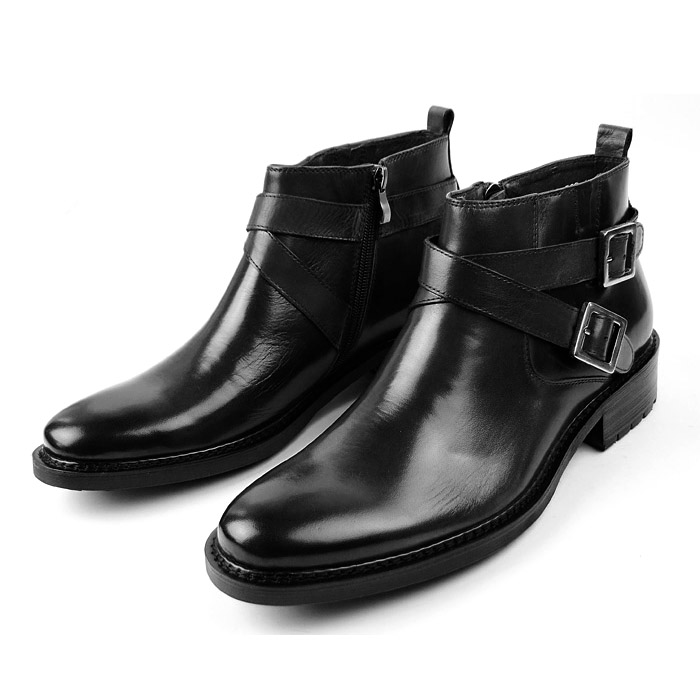 Woufo genuine leather high top mens shoes British European leather boots business round head zipper short boots autumn and winter