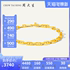 Chow Tai Sang Gold Bracelet Pure Gold Japanese Character Geometric Jewelry Hard Gold Pig Nose Jewelry Europe and America ins Wind Aurora Gold