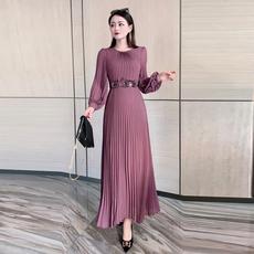 2021春季新款欧美高端大牌名媛雪纺长袖礼服连衣裙女百褶修身长裙