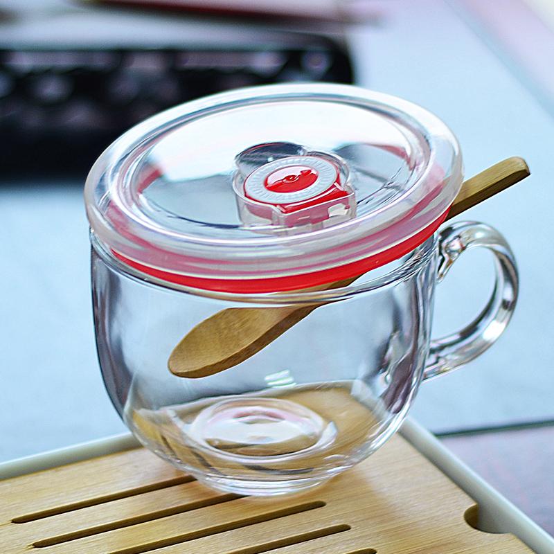 热销2594件买三送一马克杯玻璃可微波带盖勺燕麦片碗