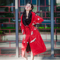 3611#竹与鹤加绒中国风外套学生厚款休闲超长款风衣女秋季#实拍
