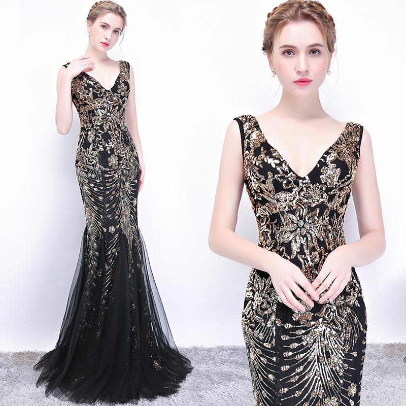 晚礼服女2018新款宴会性感夜店鱼尾长裙v领晚装修身显瘦长款黑色