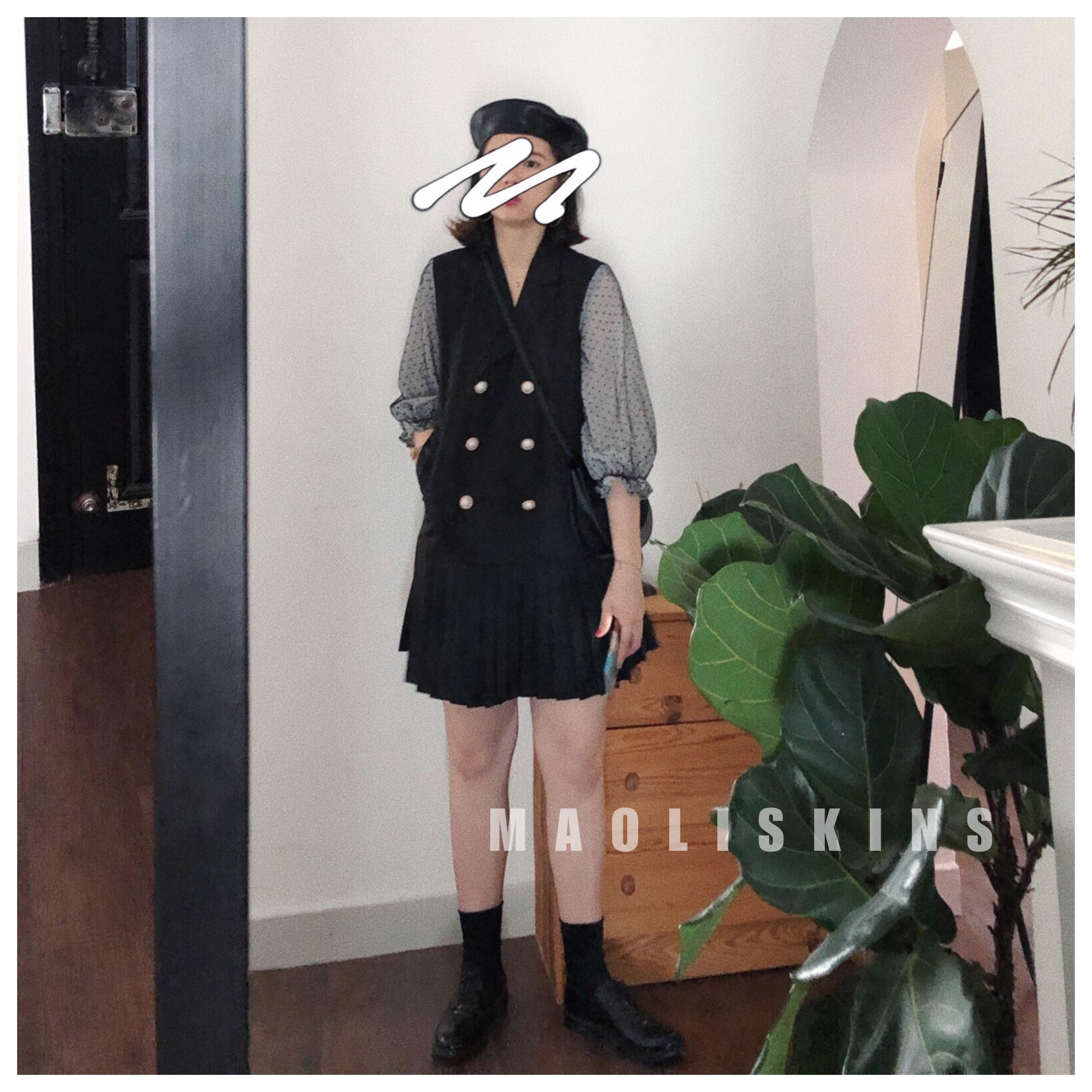 毛丽小四郎 公主袖灯笼袖 宫廷风假两件气质西装双排扣连衣裙女新