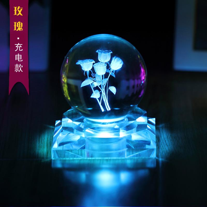 玫瑰水晶球发光摆件 魔术球