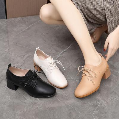 2021新款春秋季爆款粗跟单鞋英伦小皮鞋高跟真皮软底女鞋大码4142