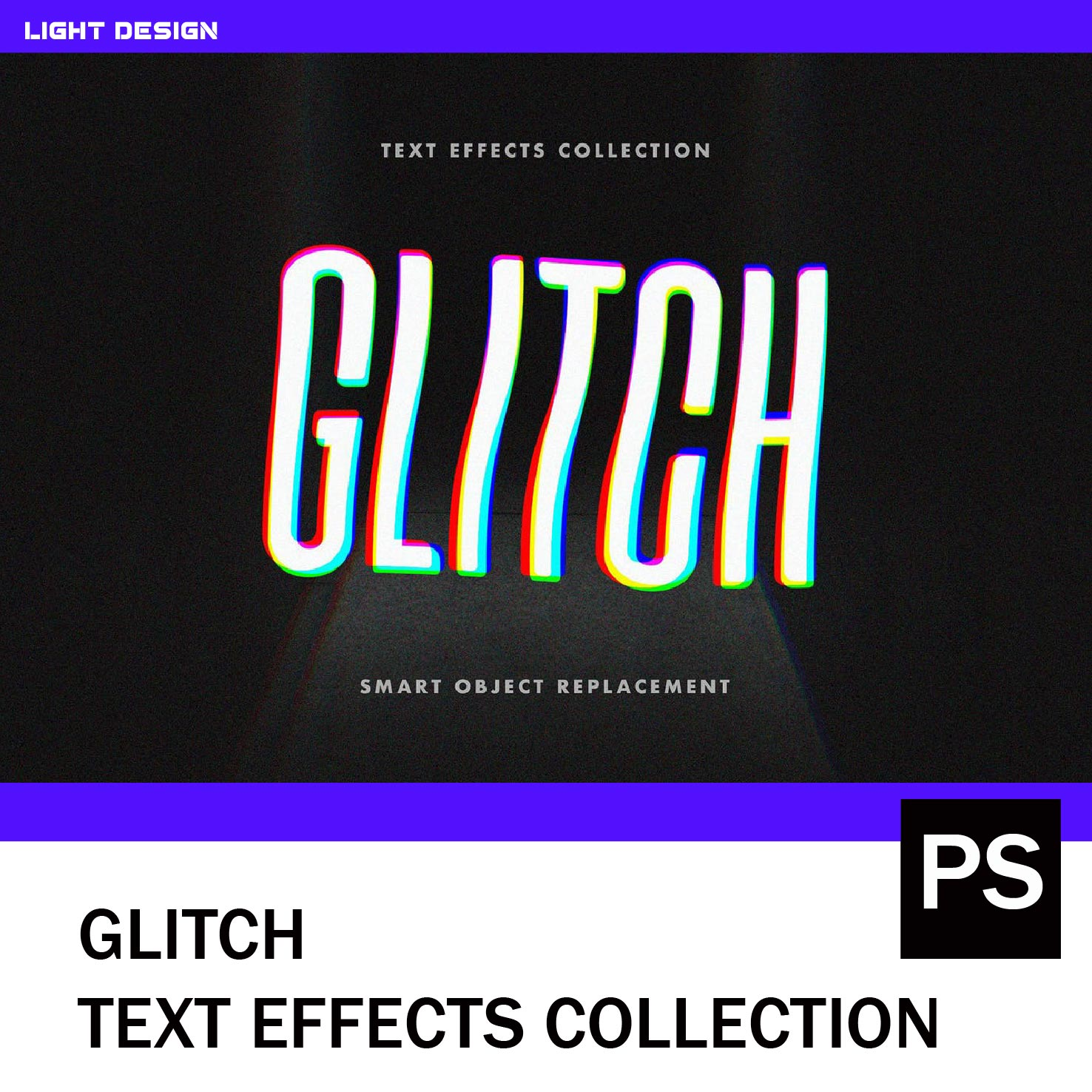 Glitch text effects collection cool distortion error effect PS design material