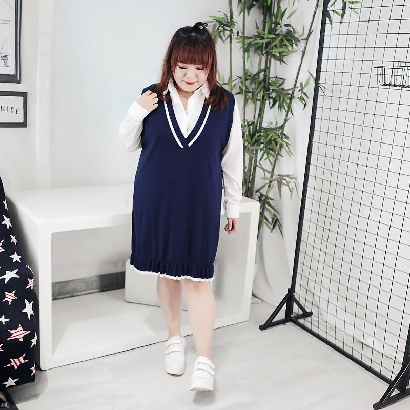 200斤特大码女装胖MM减龄学院风显瘦长袖连衣裙毛衣衬衫两件套装
