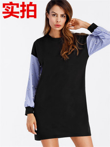 3269#秋冬新款女装欧美时尚条纹钉珠长袖卫衣裙 蝙蝠袖