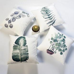 北欧加厚棉麻沙发抱枕靠垫客厅简约ins软包飘窗抱枕套床头靠枕背