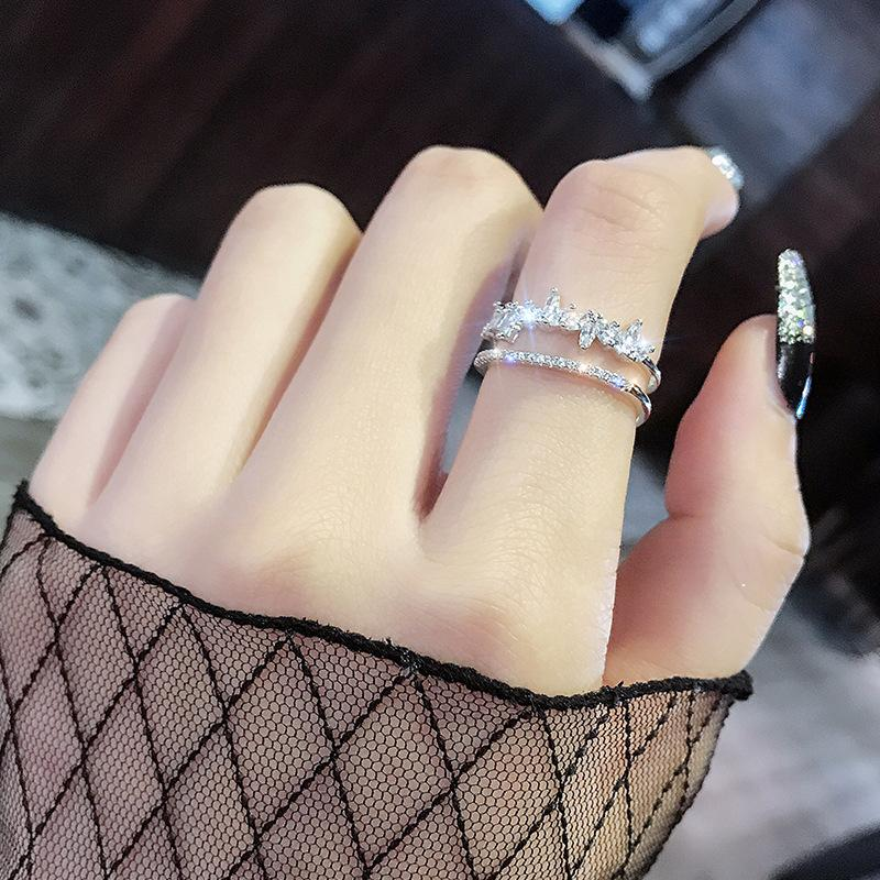 Zircon open mouth Japanese and South Korean network red tide people atmosphere personality student chic minimalist ring cold wind ring female