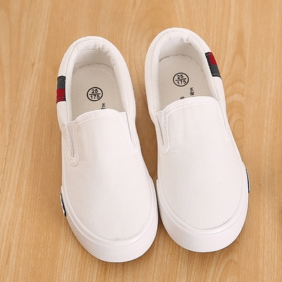 Pull Back Children's Shoes Pedal Footwear Children's Cloth Shoes Boys Shoes Student White Canvas Shoes Girls Little White Shoes