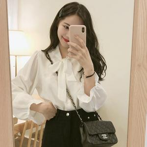 春秋装上衣洋气新款超仙女范蝴蝶结雪纺白衬衫2019韩版设计感小众