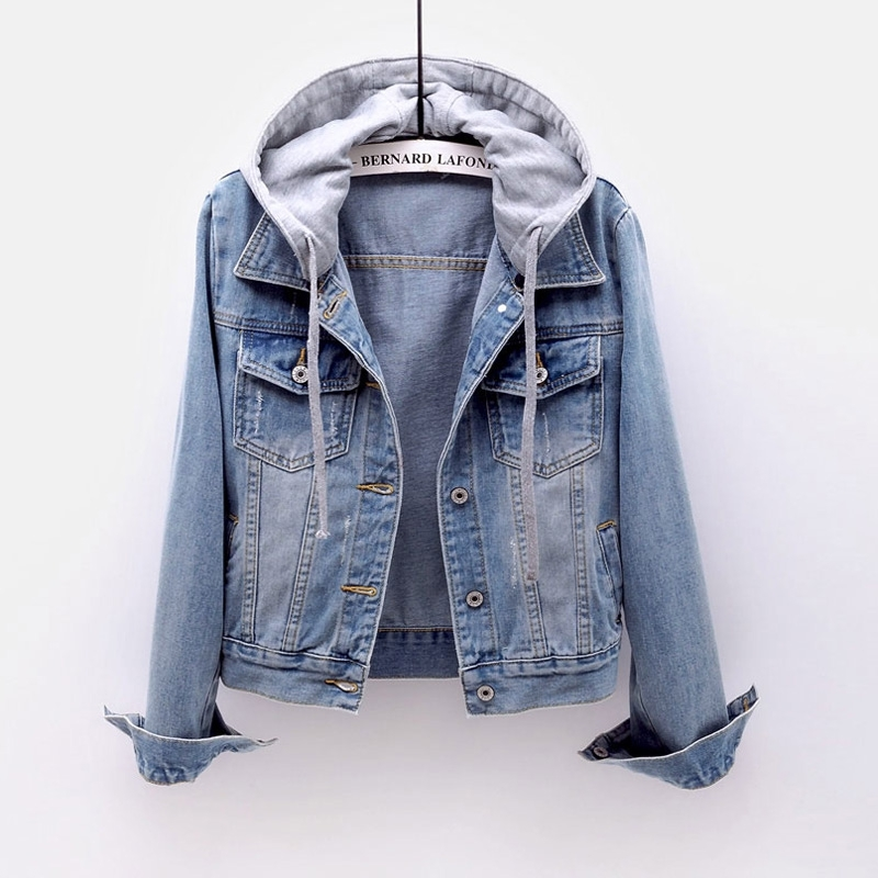 Denim short jacket women short section spring and autumn Korean new long-sleeved slim hooded jacket wild