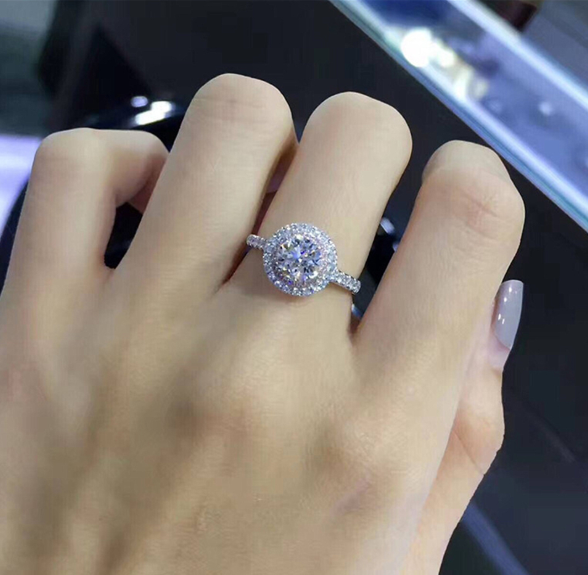Wish hot silver wedding ring charm Queen Princess ring round powder zircon rings engagement