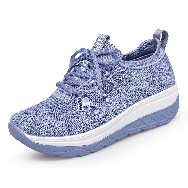 凡得女鞋厚底2021夏季新款妈妈鞋子飞织网面透气垫休闲运动摇摇鞋