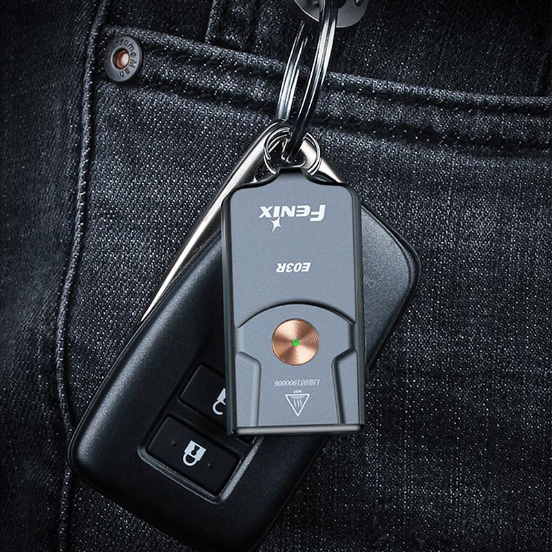 菲尼克斯E03R钥匙扣小手电可充电EDC户外家用便携高亮防水手电筒