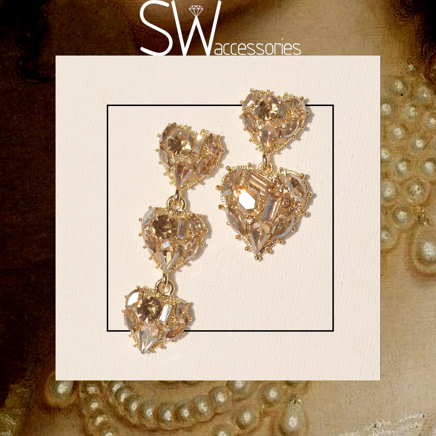 SW/澄糖之心切割宝石元素爱心不对称925银耳钉香槟碎钻女团风耳饰